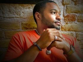 Music producer celebrity social influencer Tyrone Smith in G-Star Raw David Yurman Apple Watch Avianne co Jewlery in Venice Italy
